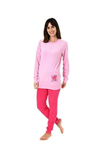 Damen Frottee Pyjama mit Rundhals, Uni Oberteil und Hose, Rose, 61695, Gr. L 44/46