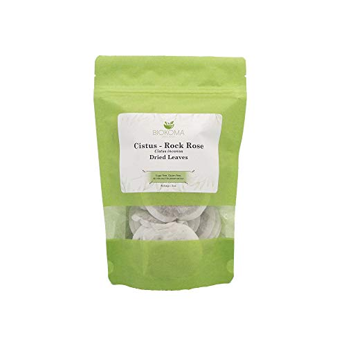 100% Pure and Organic Biokoma Cistus - Rock Rose (Cistus incanus) Dried Leaves Tea 40 Bags 2oz in Resealable Moisture Proof Pouch