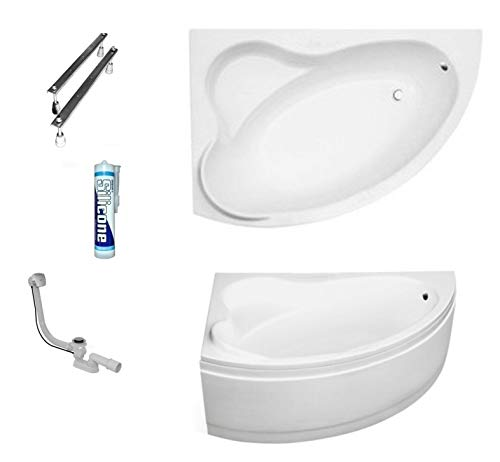 ECOLAM Badewanne Eckbadewanne Acryl Ada weiß 160x100 cm LINKS + Schürze Ablaufgarnitur Ab- und Überlauf Automatik Füße Silikon Komplett-Set