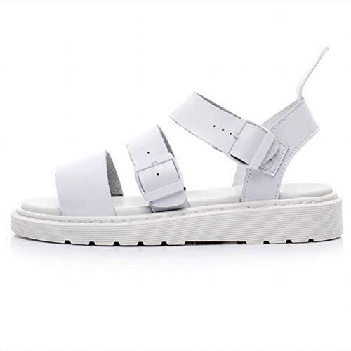 Women Sandals Summer Martin Sandales Femme Boucle Romaine Bout Ouvert Chaussures de Plage Sandales en Cuir Sauvage Couples Épais Hommes Et Femmes, White, 41