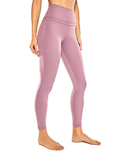 CRZ YOGA Women's Naked Feeling Workout Leggings 25 Inches - 7/8 High Waist Yoga Tight Pants Buttery Soft Figue Pink Large