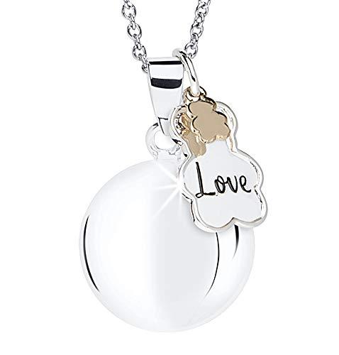 MAMIJUX Chiama angeli con ciondolo doppio a forma di Orsetto e scritta Love, con catenina in acciaio con bead lunga 110cm