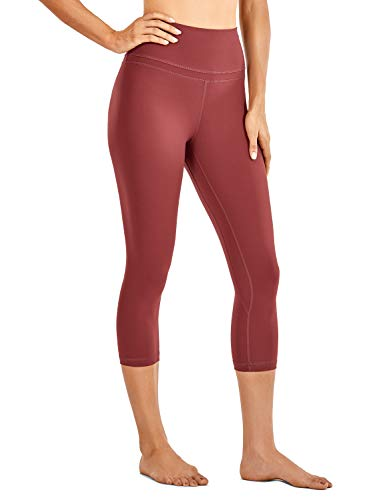 CRZ YOGA Donna Vita Alta Yoga 3/4 Capri Pantaloni Sportivi Leggings con Tasche Sensazione Nuda -48cm Savana-R418 42