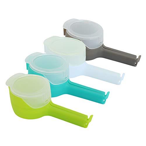 Set de 4 Clips de colores, selladores abre fácil para bolsas. Pinzas para cerrar bolsas y mantener los alimentos frescos. Clips de sellado para identificar el tipo de bolsa de alimento.