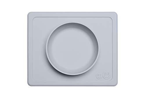 EZPZ Mini Bowl 12 Monate + Schüssel aus 100% Silikon mit integriertem Platzset für Babys und Kleinkinder, Hellgrau