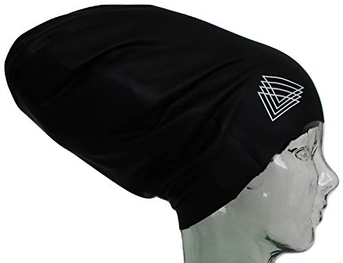 Copious Caps - Large Swim Cap for Dreadlocks - XL Long Hair - 100% Silicone - Keep Your Natural, Thick, Curly Hair, Afros, or Braids Dry While Swimming and Bathing - Gentle, Doesn't Pull (Black, XXL)