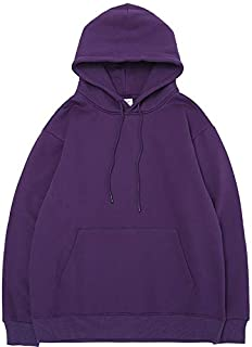 JXSHQS Europe and The United States Tide Brand Autumn and Winter New Men's Clothing Solid Color Basic Light Fleece Hooded Loose Men's Sweater Men's Long Sleeve Sweater (Color : Purple, Size : L)
