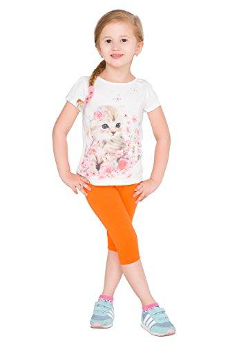 hi!mom - Leggings pirata infantiles - Algodón - Colores lisos - Tallas 2-13 años - Naranja - 1-2 años