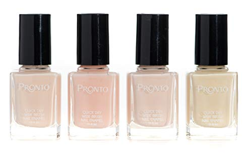 Pronto French Collection, 4 Pieces Color Set – Long Lasting, Quick Dry Nail Polish (11.5 ml/0.40 fl oz ea.) (French Nude)