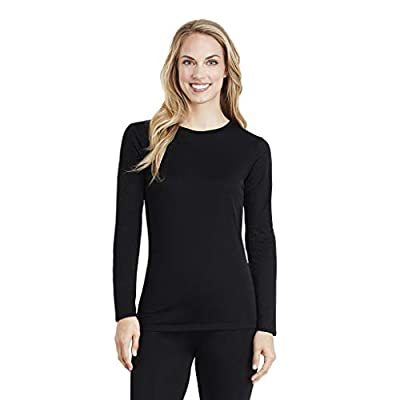 Cuddl Duds Women's Softwear with Stretch Long Sleeve Crew Neck Top, Black, X-Small