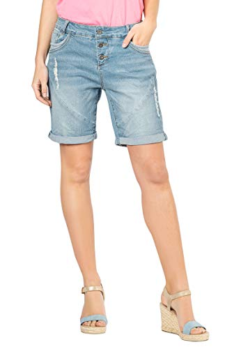 Fresh Made Fresh Made Damen Boyfriend Jeans Bermuda-Shorts im Used Look Light-Blue S
