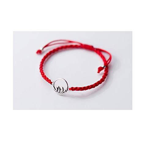 Sunwd Cuentas Pulsera,Brazalete 1P Authentic Real. 925 Sterling Silver Jewelry Red/Black Braid Handmade Sea & Mountain Top Love Gift Chain Bracelet Lovers' S868 Red