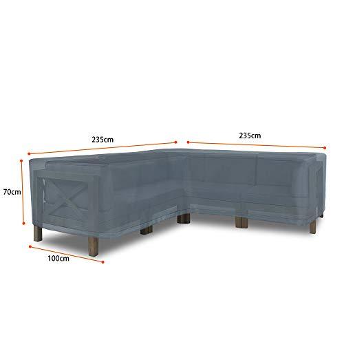 Hentex Cover Loungemöbel Abdeckhaube für L-Form Sofas,Wasserdichtes Atmungsaktives TPU Gewebe Abdeckhaube für Gartenmöbel ,Wasserdicht Schutz vor Wind UV schützende (Grau (235 * 235 * 100W*70H cm) - 2