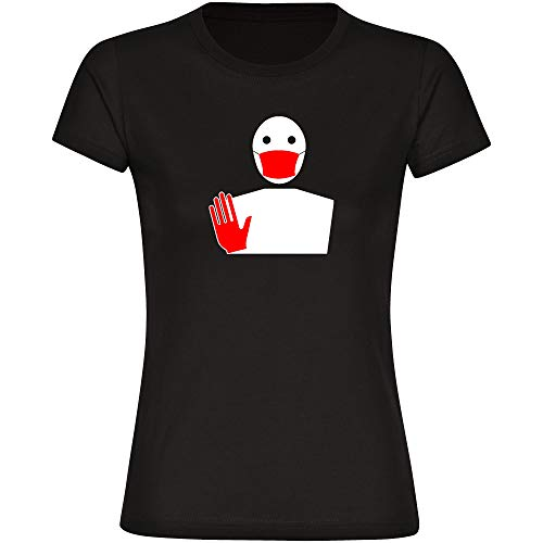 Maglietta da donna con protezione per la bocca e guanti S - 3XL - Maglietta coronaviren covid 19 covid-19 virus quarantena Nero  S