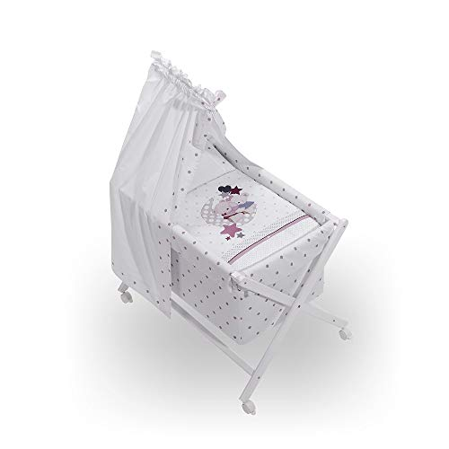INTERBABY - Minicuna Dosel Amorosos Rosa con Textil