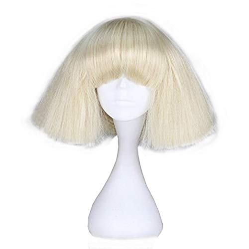 Lady Gaga Wig Black Blonde White Synthetic Hair Cosplay Wig Halloween Party Costume Wigs + Wig Cap Blonde