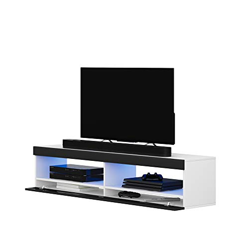 Selsey TV-Lowboard, Weiß Matt/Schwarz Hochglanz, 100 cm