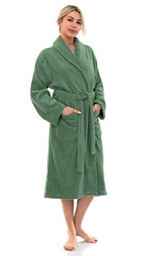 towelselections mujeres del algodón orgánico albornoz Terry Robe fabricado en Turquía -  Verde -