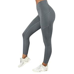 VJGOAL Moda Casual de Mujer Color sólido Cintura Alta Leggings Gimnasio Deportes Gimnasio Correr con Elasticidad Atlético Pantalones de Yoga(Large,Gris)