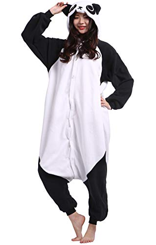 Jumpsuit Onesie Tier Karton Fasching Halloween Kostüm Sleepsuit Cosplay Overall Pyjama Schlafanzug Erwachsene Unisex Lounge Kigurumi,L,Panda 1