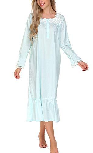 Damen Nachthemd Baum Langarm Knopfleiste Sleepshirt Elegant Altmodisch Loose Bequem Pyjama Nachtwäsche (Color : Blau, Size : L)