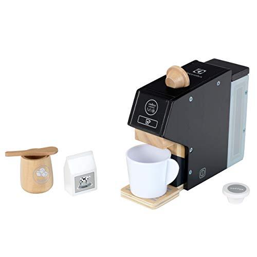 Theo Klein 7401 Drewniany ekspres do kawy Electrolux | W zestawie: filiżanka, kapsułki, mleko i cukier | Akcesoria do kuchni dziecięcych i zabawkowych | Wymiary: 19 cm x 5,5 cm x 14 cm