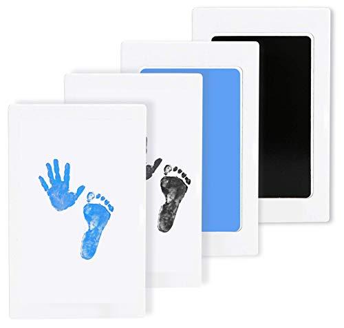LxwSin Baby Fußabdruck Stempelkissen, Fußabdruck und Handabdruck Set, 2 Pcs Baby Clean Touch Tintenpad Inkless Baby Ungiftig Unordentlich Impressum Kits für Neugeborene Kleinkind, Pet (Schwarz/Blau)