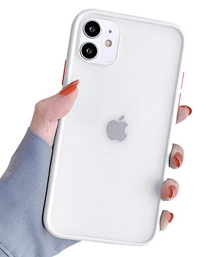 Ownest Compatible with iPhone 11 Case for Clear Frosted PC Back and Soft TPU Bumper Protective Silicone Slim Shockproof Case for iPhone 11(6.1 Inch)-(Purple)