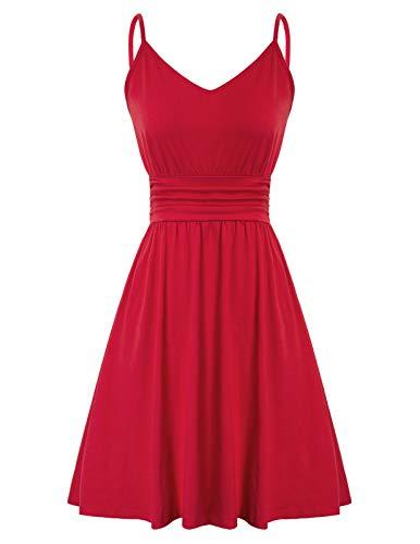 LIUMILAC Damen Kleider Sommer Kleid Knielang Cocktailkleid Abendkleider Hochzeit Party Kleider M Rot LAS2047-1