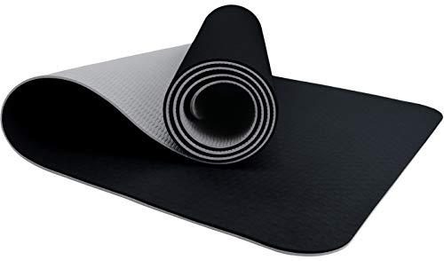 ReFit TPE Fitnessmatte mit Tragegurt schwarz hellgrau Black Light Gray anthrazit phthalatfrei rutschfest hypoallergen öko hygienisch Yogamatte Pilates Fitness Workout Gymnastik 183 cm x 61 cm x 6 mm