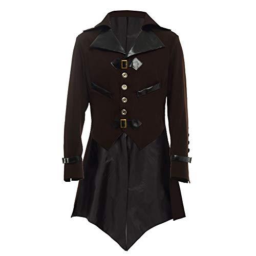 BLESSUME gotisch viktorianisch Frack Steampunk VTG Mantel Jacke Halloween Cosplay Kostüm (S, Braun)
