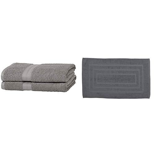 Amazon Basics Lot de 2 draps de Bain résistants à la décoloration Gris & Today Tapis de Bain, Coton, Canon de Fusil, 50 x 85 cm