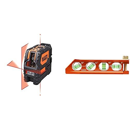 Klein Tools 93LCLS Laser Level, Cross Line Level with Plumb Spot & 935AB4V Level, Torpedo Level is a Magnetic Conduit Level with 4 Vials, V-Groove and Magnet Track, High Viz Orange