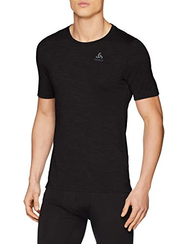 Odlo Herren BL TOP Crew Neck s/s Natural 100% Merino WARM Unterhemd, Black - Black, L