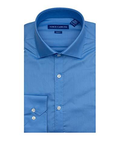 Vince Camuto Men's Slim Fit Spread Collar Dress Shirt, Blue Solid, 16 34/35