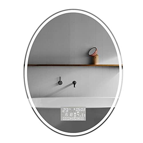 Espejos De Tocador De Pared Con Luces Espejo De Pared Para Baño Con Luces Led Espejo De Maquillaje Ovalado Con Color Ajustable Espejo De Alta Definición Con Bluetooth / Desempañado / Temperatura De T