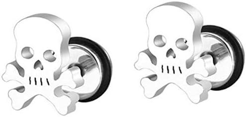 Stainless Steel Gothic Skull Bone Skeleton Biker Cocktail Party Halloween Stud Earrings Silver product image