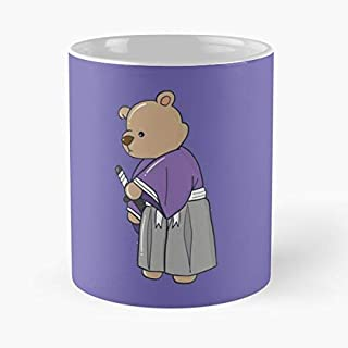 Argentwork Japan Kimono Katana Samurai Hakama Anime Bear Cute Drawing Culture Taza de café con Leche 11 oz