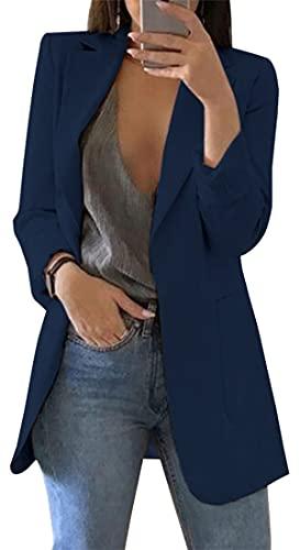 OLIPHEE Giacche da Abito e Blazer Lunga Aperto Davanti A Tinta Unita Cardigan Eleganti per Ufficio per Ragazze e Donna 3XL Blu