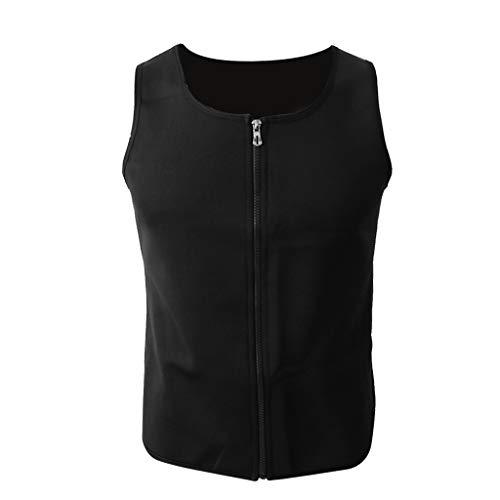 HomeDecTime Chaleco Moldeador de Cuerpo para Hombre Chaleco con Cremallera de Efecto Sauna para Entrenamiento Fitness Yoga Gym - L