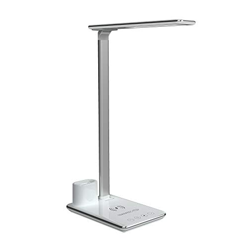 TerraTec ChargeAIR All Light Schreibtischlampe 5W dimmbar LED Tischleuchte 4 Farbtemperaturen, Faltbare Tischlampe, 10W Wireless QI, Apple Watch, AirPod Charger mit Berührungssteuerung – weiß/Silber