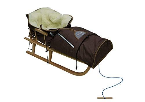 Holzschlitten für Kinder mit Rückenlehne Rodelschlitten Davoser Schlitten aus Holz mit einem Sicherheitsgurt, Rückenlehne und Winterfußsack