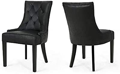 6ea7722199d4 Microfiber Dining Chair with Wood Frame and Diamond Tufted - Upholstered  Dining Chair with Solid Back