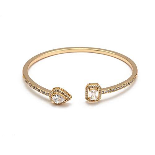 Open Cuff Bracelet Bangle Gold Color Copper Micro Pave Zircon Evil Eye Bangle For Women Men Fashion Jewelry
