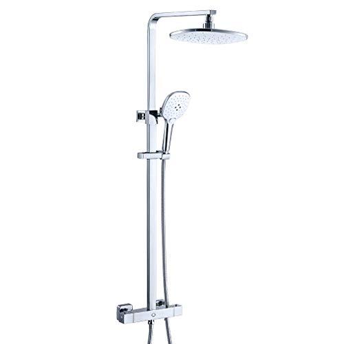 CECIPA Juno H302C - Sistema de ducha con termostato mezclador, termostato con cabezal de ducha, ducha de lluvia y 3 tipos de chorro, cromado