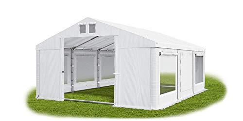 Das Company Partyzelt 5x6m Lagerzelt Universalzelt Moskitonetz wasserdicht weiß mit Bodenrahmen 560g/m² PVC Plane Solide Festzelt Gartenzelt Summer Floor ISDM
