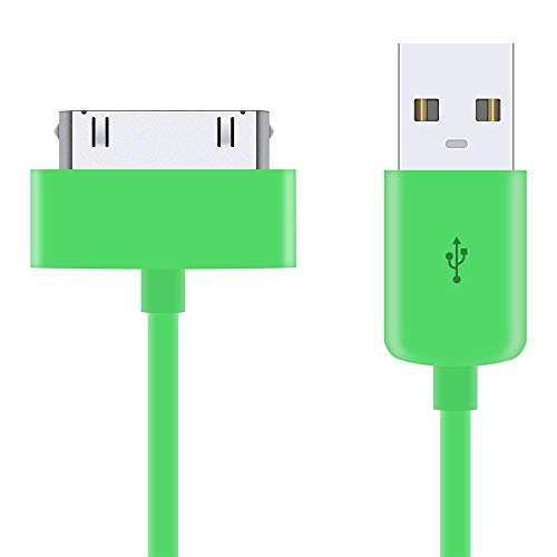 5 Pack of 1 Metre Green 30-Pin USB Data Sync Charging Cable Charger Lead Compatible with Apple iPhone 4 4S 3G 3GS Apple iPad 1st 2nd 3rd Gen iPod 5th Gen classic nano 1st 2nd 3rd 4th 5th 6th Gen Touch