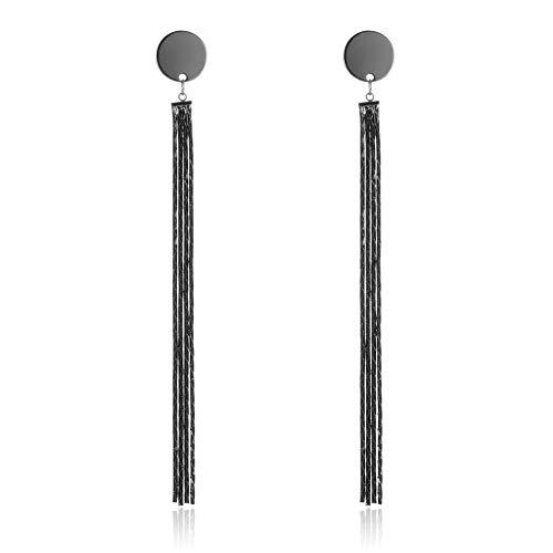 Pendientes colgantes de cadena de aleación negra Chica Pendientes largos redondos con borla Pendientes de joyería de moda Pendientes