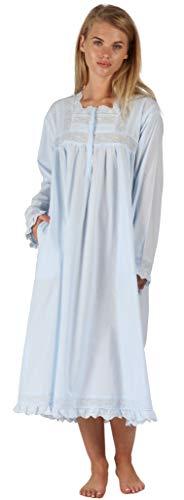 The 1 for U 100% Baumwolle Praire Stil Nachthemd mit Taschen - Henrietta - XS - XXXXL - Blau, 3XL