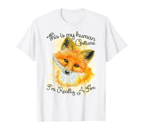 Camiseta divertida Este es mi disfraz humano Soy realmente un zorro Camiseta
